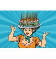 Happy birthday retro woman and the hat cake vector image