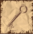 Old key icon on vintage background vector image