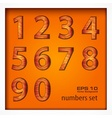 Set of numbers on wooden vector image