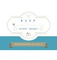 RSVP Wedding card blue ribbon theme vector image