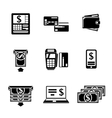 Set of ATM monochrome icons with - ATM cards vector image