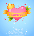Romantic heart with ribbon crown vector image vector image