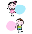Doodle boy and girl holding blank banners vector image vector image