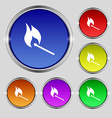 burning match icon sign Round symbol on bright vector image
