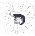 hand drawn shrimp icon logo in black and white vector image