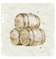 hand drawn wooden barrels vector image