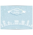 Happy holiday card with white paper town vector image