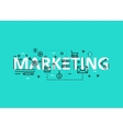 Marketing concept flat line design with icons and vector image