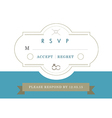 RSVP Wedding card blue ribbon theme vector image