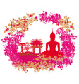 Silhouette of a BuddhaAsian landscape in grunge vector image