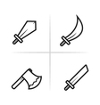 Game RPG and MMORPG weapon icons vector image