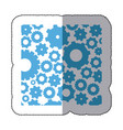 sticker color pattern with gears and pinions vector image