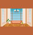 living room interior with big windows modern vector image