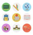 nine color flat icon set - school vector image