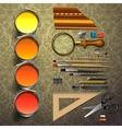 Group art supplies vector image