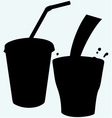 Closed cup with a straw and a splash of cola vector image vector image