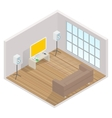 isometric interior of the room with a TV vector image