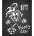 April Fool drawn on chalkboard vector image