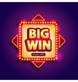 Big Win banner with glowing lamps for online vector image