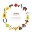 cartoon cowboy banner card circle vector image