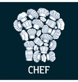 Chef toque label in shape of cook hats vector image