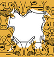 color cute heads of wilds animals background vector image