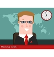 Morning news Silhouette of a man with glasses vector image