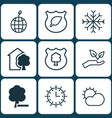 set of 9 eco icons includes timber clear climate vector image