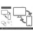 Data synchronization line icon vector image