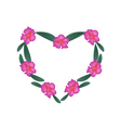 Pink Rhododendron Flowers in Heart Shape Frame vector image