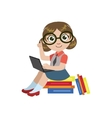 Girl In Glasses Reading vector image