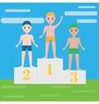 Children swimming sport team on pedestal Boys vector image