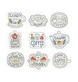 cute hand drawn set of coffee and tea labels for vector image