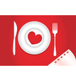 Dinner for lovers on Valentines Day vector image