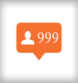 Followers orange icon 999 followers vector image