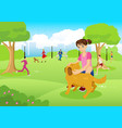 girl with her dog in the city park vector image
