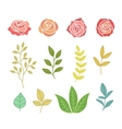 Hand Drawn Botany Set Of Flowers And Leaves vector image