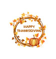 happy thanksgiving orange wreath vector image