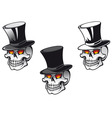 skull in top hat vector image vector image