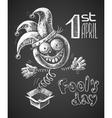 April Fool drawn on chalkboard vector image