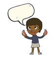 cartoon woman eating hotdogs with speech bubble vector image
