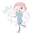 Little girl hello vector image