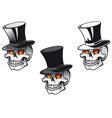 Skull in top hat vector image
