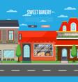 sweet bakery shop banner in flat design vector image