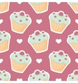Tile pattern with cupcake and white hearts vector image
