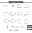 Weather line icons set Monochrome thin line vector image