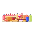 heap colorful harmful unhealthy fast food vector image