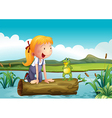 A girl with a frog in the river vector image vector image