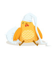 funny cartoon chick bird sleeping in his bed vector image