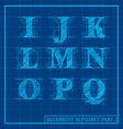 Blueprint Style Alphabet Set 2 vector image vector image